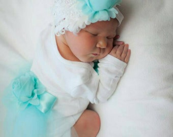 Newborn Girls One piece Bodysuit Aqua Baby Girl Take me home outfit Newborn