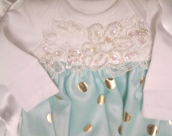 Newborn girl lace layette gown Mint Green gold Foil