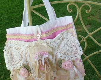 Romantic Victorian-Inspired Pink Roses and Laces Slouch Tote Bag by Wee Woolly Burros
