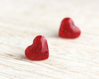 Red Glitter Love Heart stud earrings - Valentines Day jewellery