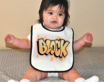 Custom Airbrushed Baby Bib | Block