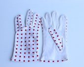 Vintage White Gloves with Red Polka Dots Womens Size Extra Small