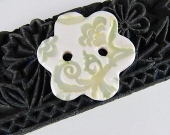 Copper Green Medium Brocade Ceramic Flower Button