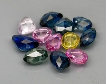 Natural Mix Color Rose Cut Sapphire Faceted Ovals Pears And Free form 12 Gem Lot, 4.25 Ct T.W 5 x 4 MM To 6 x 4 MM