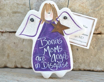 Bonus Mom Gift Salt Dough Ornament  / Gift for Mom / Step Mom Birthday / Mother in Law Gift