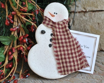 Handmade Snowman Salt Dough Christmas Ornament