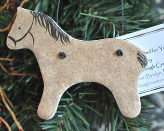 Christmas Sale Buckskin Horse Vintage look Salt Dough Ornament