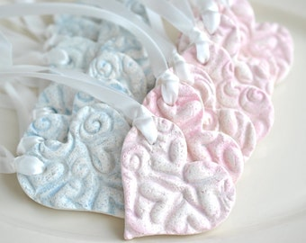 Baby Shower Salt Dough Imprinted Heart Favors Set of 10