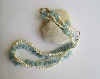 Three Strand Necklace ./. White Pearls and Aquamarine Necklace ./. Baroque Pearls ./. Collier Perle ./. Aigue Marine ./. White and Blue