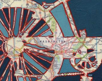 Bike Washington DC print -- featuring Falls Creek, Rock Creek Park, Highland Park, Anacostia art of original map painting