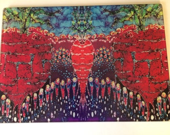 """Cutting  """"Carrot Beets and Lady Bugs """" -  tempered glass cutting board from batik by Carol -  8"""" x 11"""""""