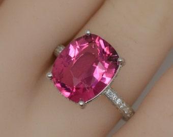 Rubellite Tourmaline Ring , white gold engagement ring