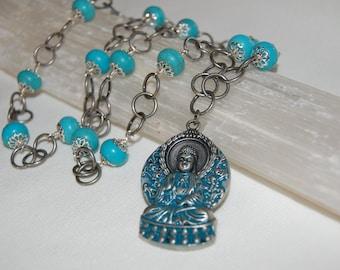 Turquoise Magnestie Gemstone Buddha Necklace Chakra Jewelry Healing Pendant Blue Stone Jewelry Tailsman