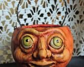 Primitive Folk Art Halloween Pumpkin Jol Candy Cup EHAG PFATT HAFAIR