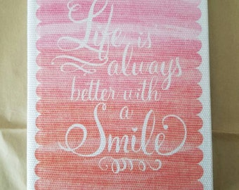 Shabby Chic Journal, Handmade Journal, Fabric Journal, Canvas Notebook, Smile Journal, Quote journal