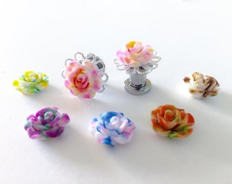 Fancy Plugs 00g 0g Candy Confetti Rose Plugs 2g Flower Plugs, 6 Colors Rosebud Gauges 4g 6g Body Jewelry 10mm, 8mm, 6mm,  5mm, 4mm