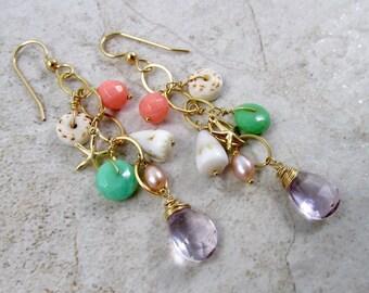 Gemstone Earrings, Gold Chain Dangle, Starfish Charm, Hawaiian Shells, Coral, Amethyst Gemstones, Mothers Day Gift, Hawaii Beach Jewelry