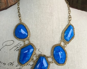 Antique gold chain and blue beads,  blue bib necklace,  chunky necklace