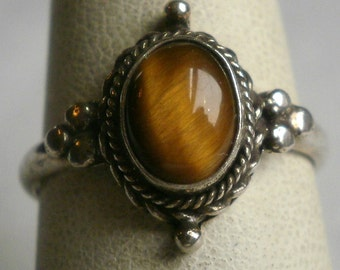 Sterling Silver Tiger's Eye Ring-Size 7