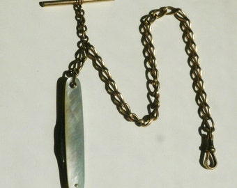 Gold Pocket Watch Chain With T Bar And Knife Fob