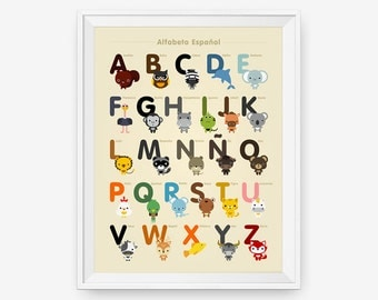 Spanish Alphabet Poster A-Z, Nursery Art, Animal Children Room Decor, Classroom Decor
