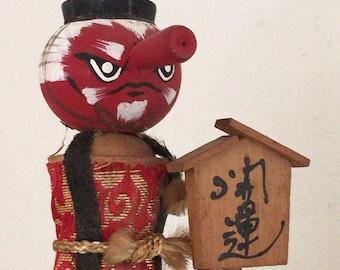 Vintage small kokeshi doll TENGU on GETA
