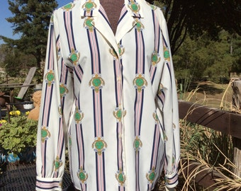 Vintage Haberdashery women size 10 blouse--still has tag from Dillards attached.  stripes and crests pattern
