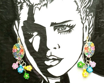 Sale was 17 now 15uk Silvertone Oval Cabochon Leverback Dangels with Faux Milli Fiori and Fimo Flower earrings.