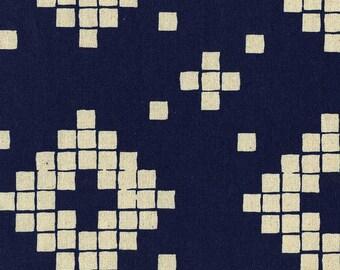 Mesa CANVAS Tile in Indigo, Alexia Abegg, Cotton+Steel, RJR Fabrics, Cotton and Linen Blend Canvas Fabric, 4014-32