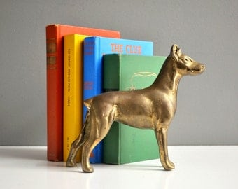 Vintage Large Brass Doberman Figurine