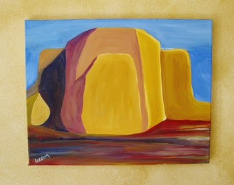 Adobe oil painting, original oil painting, adobe architecture painting, Taos Afternoon