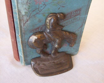 Vintage Art deco bronze bookends cowboys and horses in the wind 1940