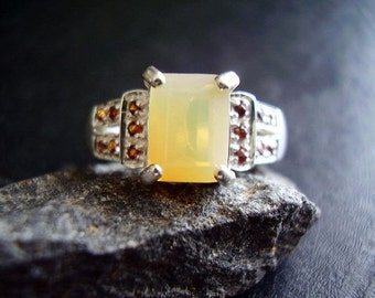 Butterscotch - Genuine Opal & Garnet Engagement Ring - 925 Sterling Silver Deco Ring -October Birthstone Ring - Unique Statement Ring - OOAK