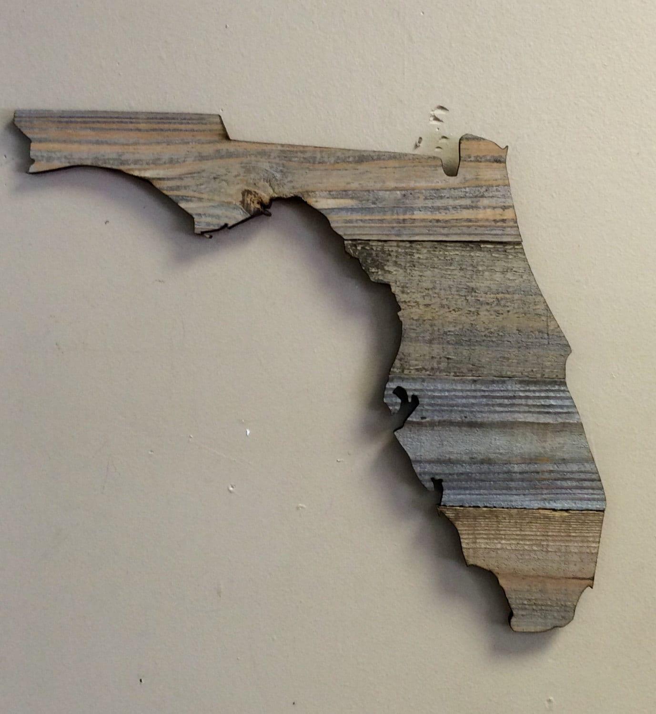 Florida Wood State Shape Cutout Rustic Wood 17 1 2 X