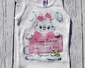 """Easter tank tee shirt one piece body suit tshirt Vintage inspired childrens tshirt """"Happy Easter to a Sweet Little Miss"""""""
