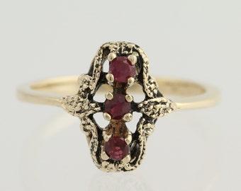 3-Stone Vintage Style Ruby Ring - 10k Yellow Gold Women's Fine Estate 0.24ctw L8376