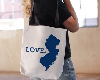New Jersey State Tote Bag // Travel Gift // College University Student Gift Idea // Free US shipping