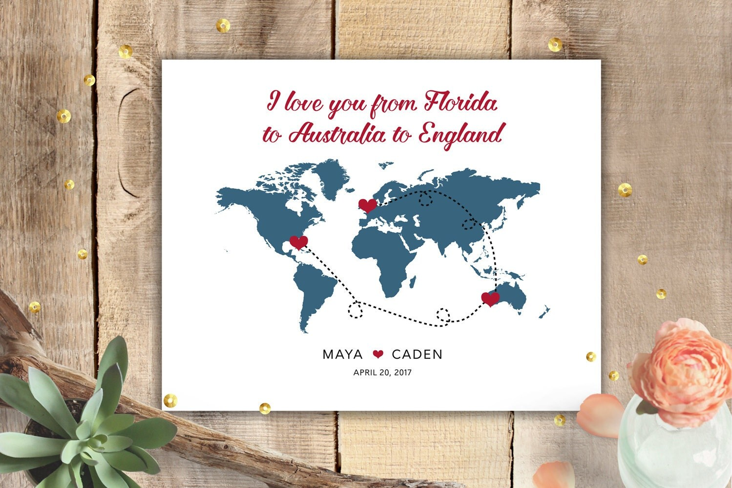 Personalized sign wedding poster anniversary gift world