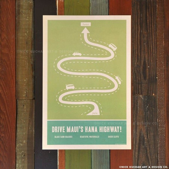 Hana Highway - 12x18 Retro Hawaii Travel Print