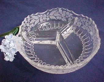 1930s New Martinsville 3 Part Relish w/ Flower Basket Etching, Elegant Serving Glassware of the Depression Era, Vintage Etched Crystal Candy