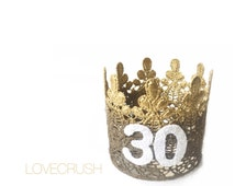 Ready to Ship|| 30th Birthday|| Ombre gold & bronze || sparkly white number lace crown headband|| ANY AGE|| keepsake box included