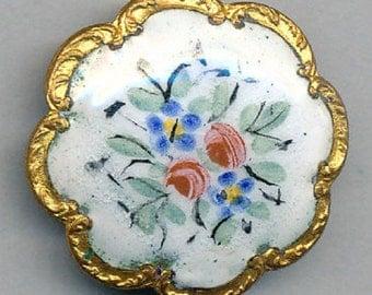 Antique French Enamel Button - White Background Scallop Border