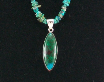 Turquoise and Chrysocolla Natural Stone Necklace with Sterling Silver