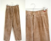 Summer Clearout Sale Vintage tan suede high waisted pants