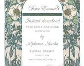INSTANT DOWNLOAD - Art Nouveau Artwork for Wedding Invitations - Alphonse Mucha - PDFs for DIY crafts - Garden Frame, Blank template (E)