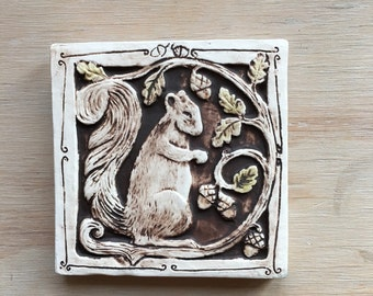 Squirrel with acorns 4x4 inchhandmade carved and painted 4 inch ceramic tile for wall hanging, installation or garden