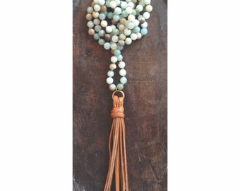 Long Beaded Necklace - Hand Knotted Amazonite Beads with Leather Tassel