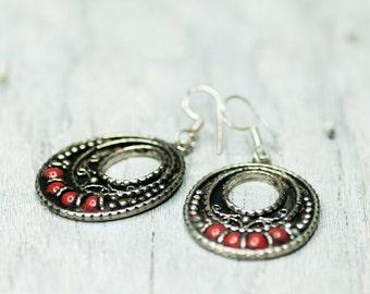 Vintage Earrings, Tribal Jewelry, Vintage Jewelry, Christmas Gift Idea, Large Earrings, Statement Earrings, Metal Earrings, Gift For Her