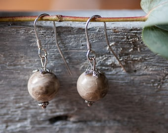 Rustic Autumn Earrings, Woodland Bohemian Earrings, Natural Stone Earrings, Everyday Earrings, Fall Jewelry, Gift For Her, Gifr For Mother