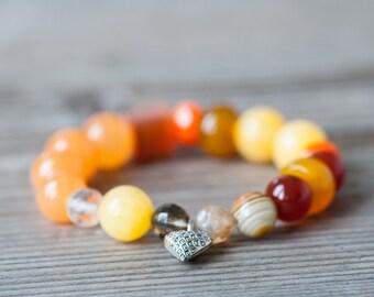 Orange Summer Bracelet, Beaded Bracelet, Summer Jewelry, Stretchy Bracelet, Heart Charm Bracelet, Summer Fashion, Budget Jewelry for Summer